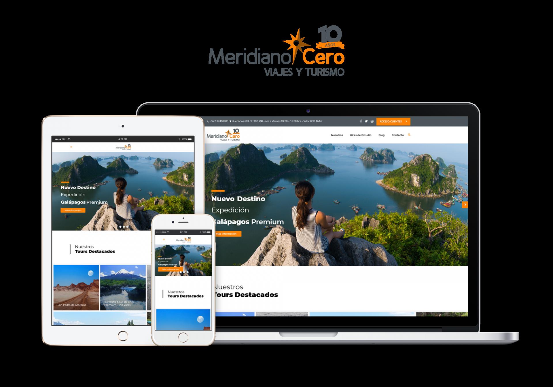 Sitio web corporativo para agencia de viajes MeridianoCero